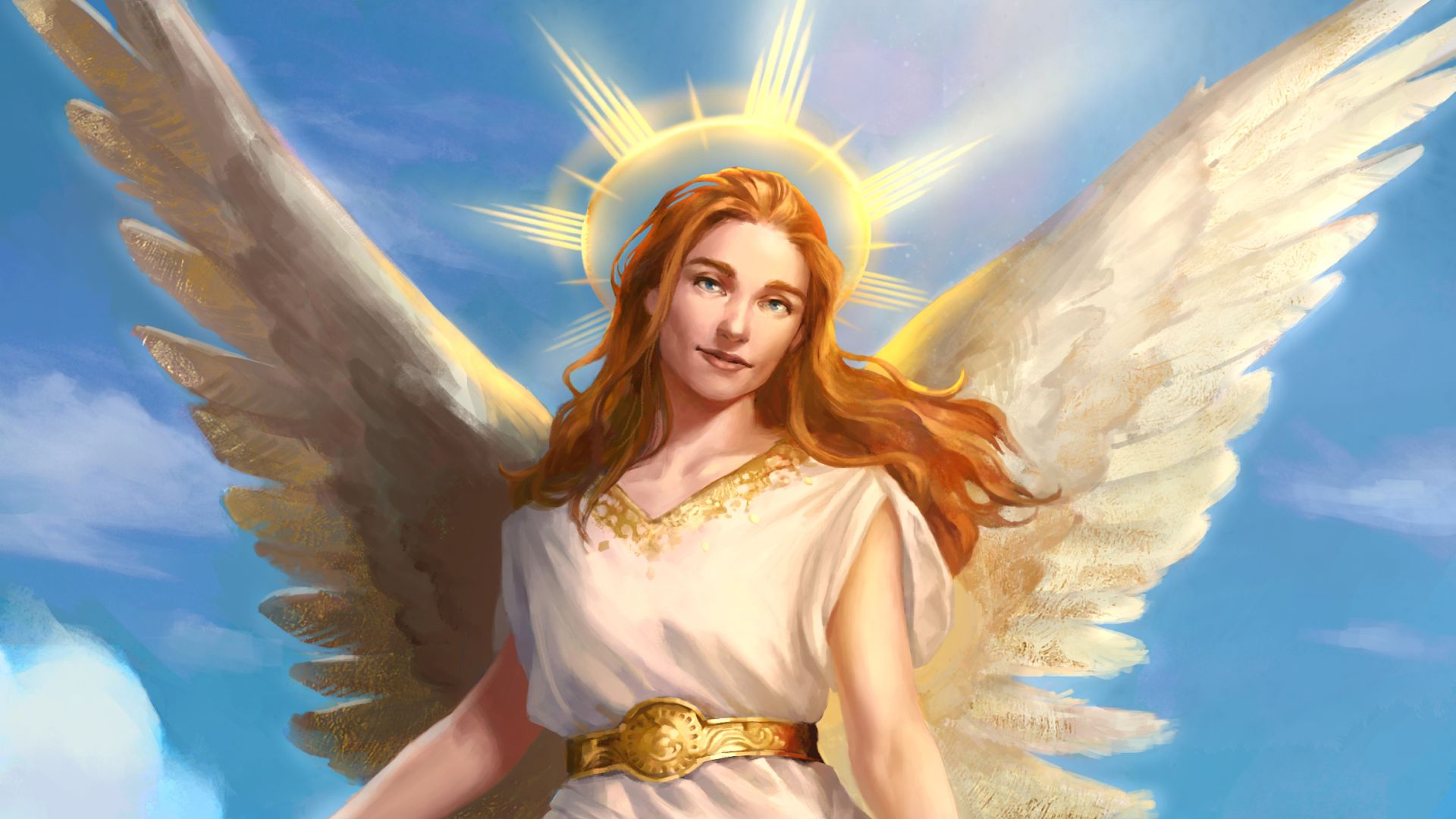 A winged angel with glowing halo