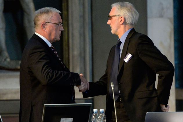 Pat McQuaid congratulates Brian Cookson on his election as UCI president