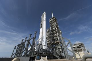 A SpaceX Falcon 9 rocket and Dragon cargo ship stand atop Pad 39A at NASA's Kennedy Space Center in Florida for the CRS-11 mission in June 2017. SpaceX will launch a new Dragon cargo ship to the International Space Station on the CRS-12 cargo mission for