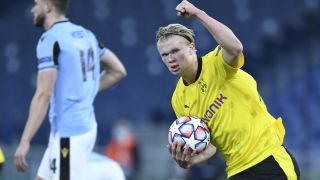 Erling Haaland of Borussia Dortmund celebrates after scoring a goal during the UEFA Champions League Group F soccer match between SS Lazio and Borussia Dortmund at Stadio Olimpico on October 20, 2020 in Rome, Italy. (Photo by Claudio Pasquazi/Anadolu Agency via Getty Images)