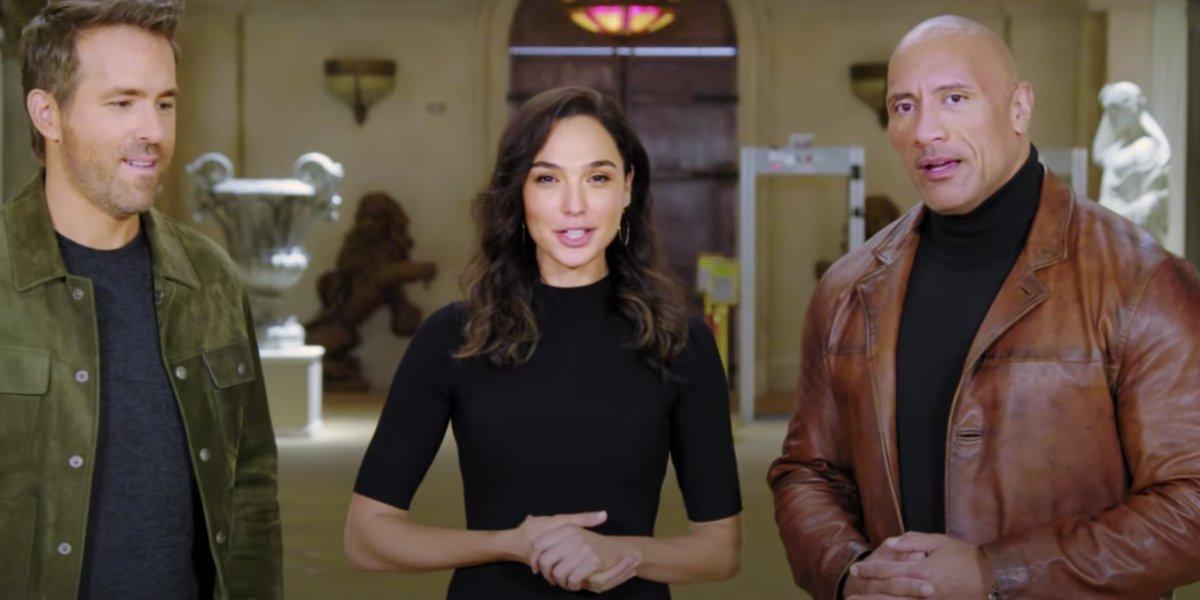 Ryan Reynolds, Gal Gadot, and Dwayne Johnson in the Netflix 2021 movie reveal