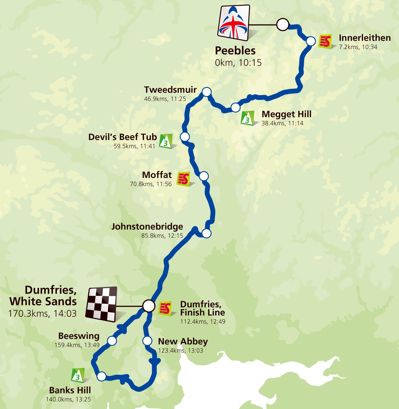 Stage 1 map, Tour of Britain 2011