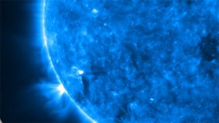 Close-up of the Sun in extreme ultraviolet light taken by STEREO's Extreme Ultraviolet Imager (EUVI).
