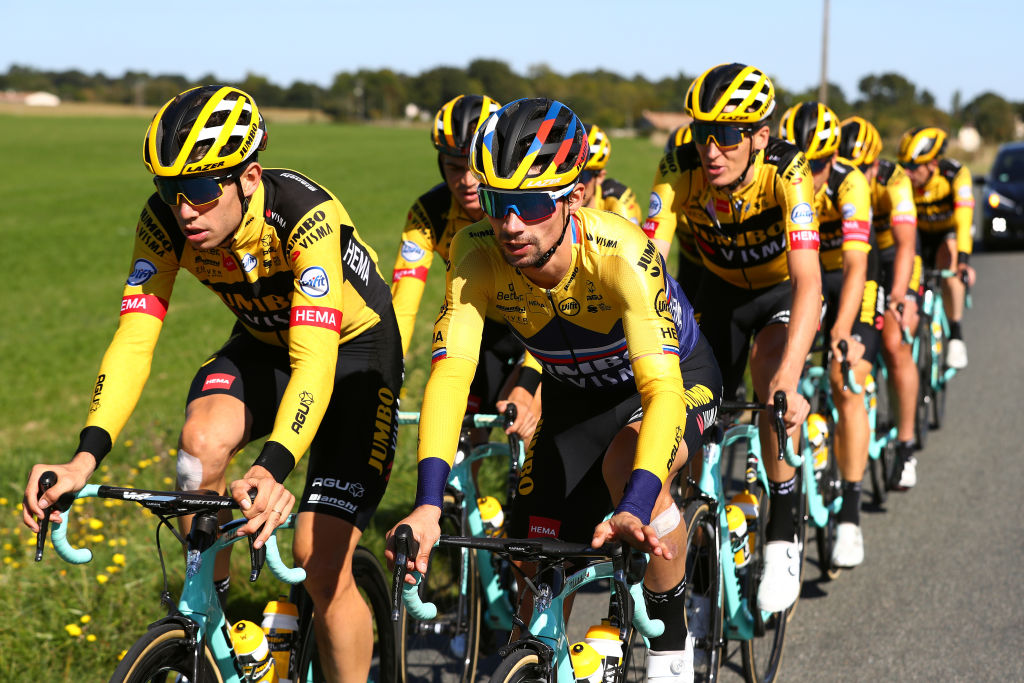 LA CHARENTEMARITIME FRANCE SEPTEMBER 07 Wout Van Aert of Belgium and Team Jumbo Visma Primoz Roglic of Slovenia and Team Jumbo Visma Robert Gesink of The Netherlands and Team Jumbo Visma during the 107th Tour de France 2020 Stage 10 Training Team JumboVisma on La Charente Maritime TDF2020 LeTour Rest Day 1 on September 07 2020 in La Charente Maritime France Photo by Michael SteeleGetty Images