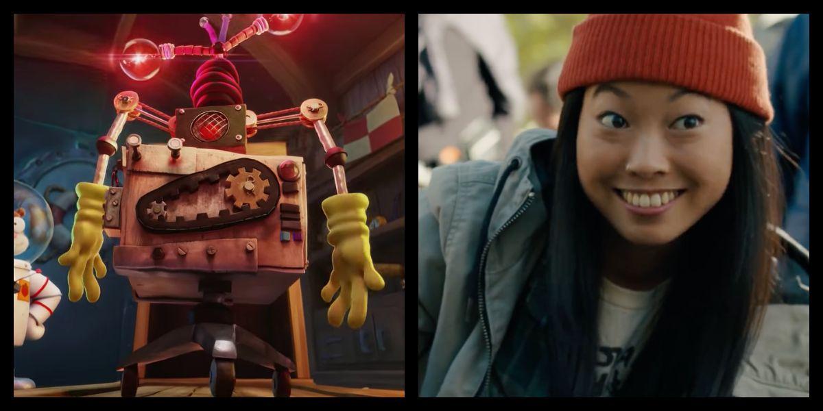 Awkwafina alongside her character in The Spongebob Movie: Sponge on the Run