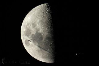 Plane Moon Jupiter and Jupiter Moons Gibbs