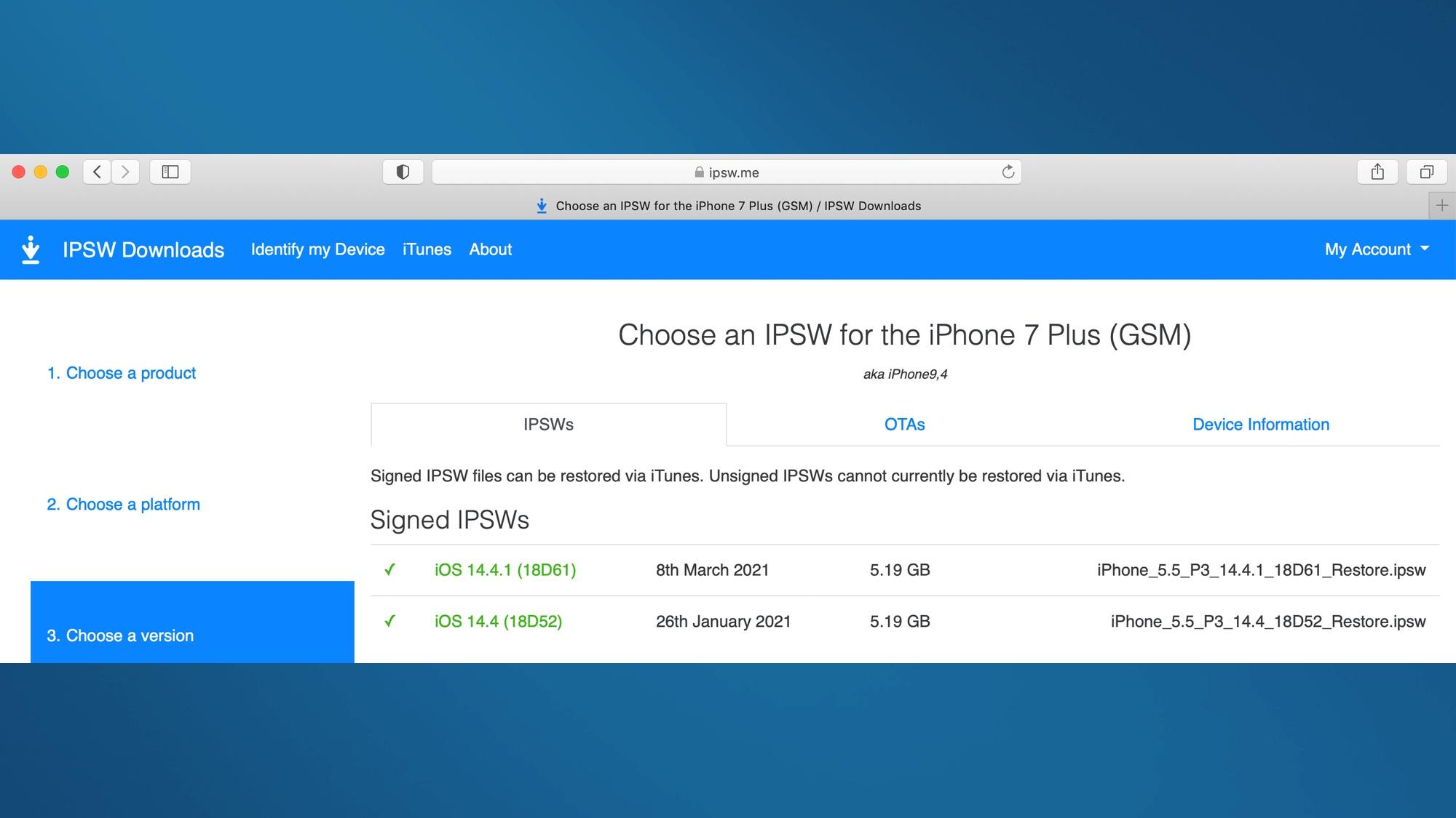 Как перейти на более раннюю версию iOS: выберите версию