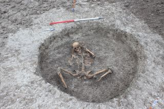 One of 26 human skeletons recently revealed during digging for a water-pipeline project in Oxfordshire, England: Local archaeologists believe many of the skeletons date to the Iron Age and may have been buried in a ritualistic manner.