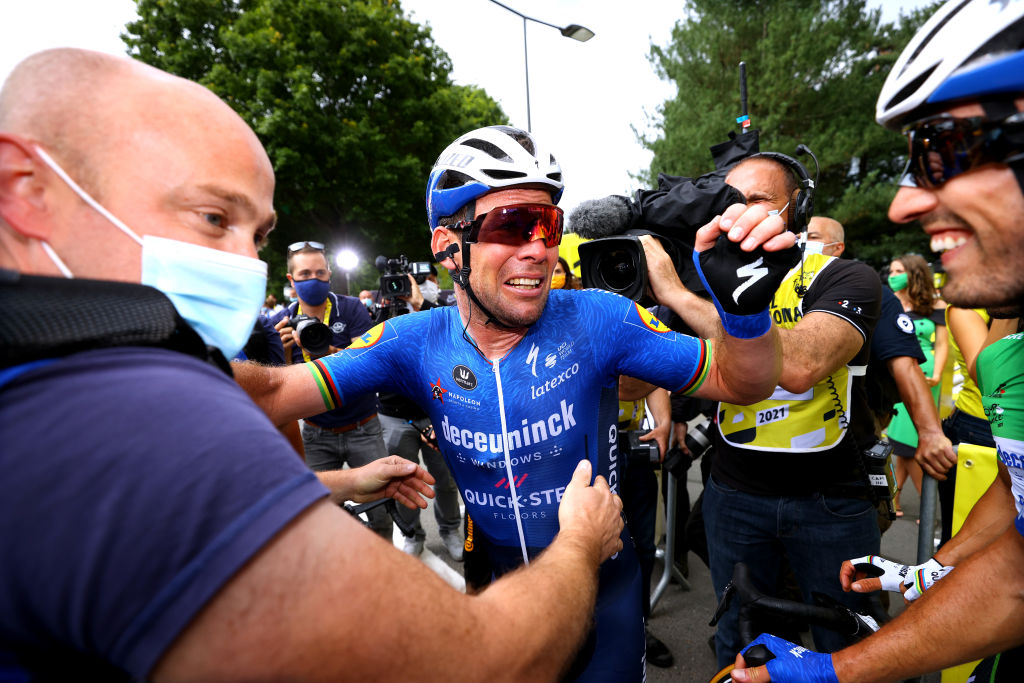 FOUGERES FRANCE JUNE 29 Mark Cavendish of The United Kingdom stage winner celebrates at arrival Mattia Cattaneo of Italy and Team Deceuninck QuickStep Green Points Jersey during the 108th Tour de France 2021 Stage 4 a 1504km stage from Redon to Fougres LeTour TDF2021 on June 29 2021 in Fougeres France Photo by Tim de WaeleGetty Images