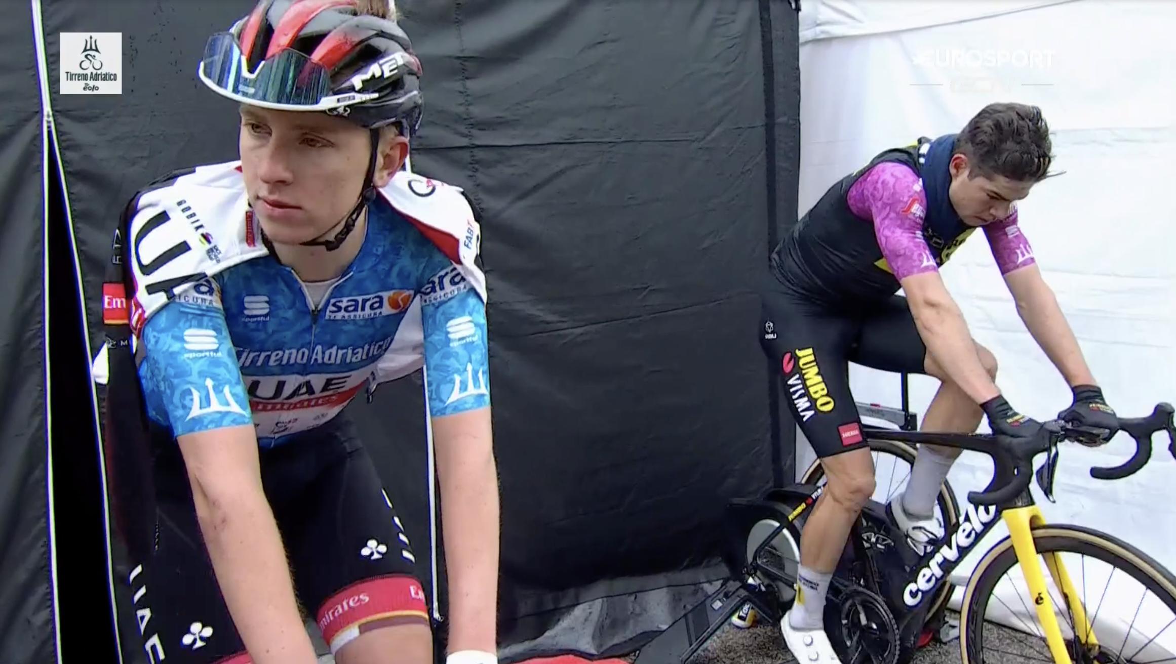Van Aert Pogacar Tirreno stage 5 Eurosport warm down