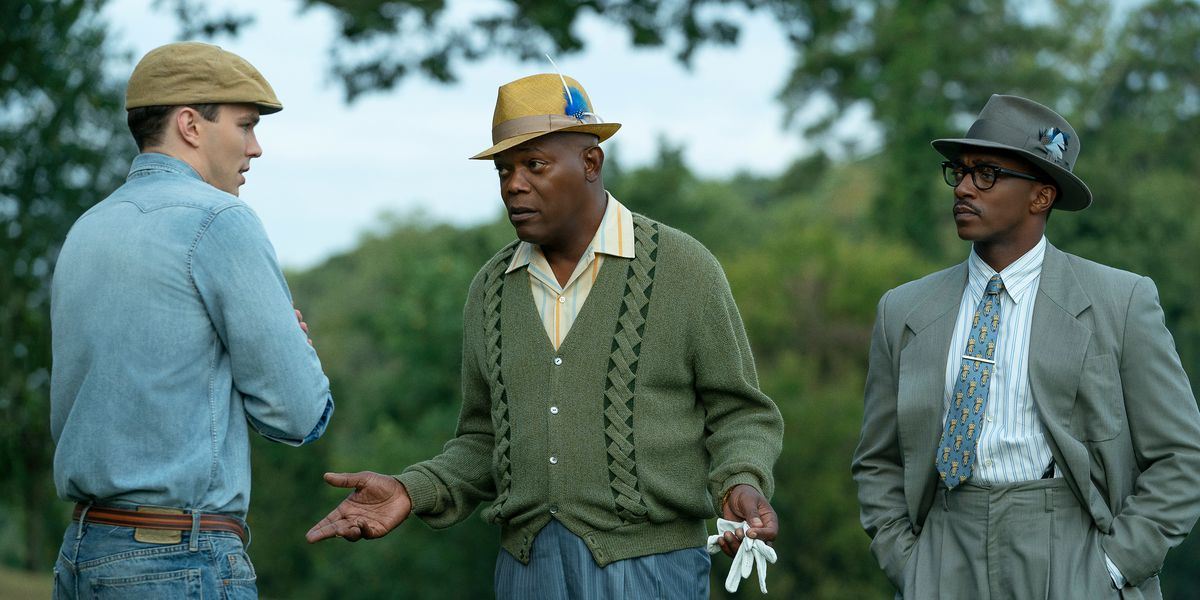 Samuel L. Jackson and Anthony Mackie in the Apple TV+ film, The Banker.