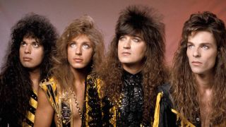 US Christian Rock band Stryper in their yellow and black uniforms