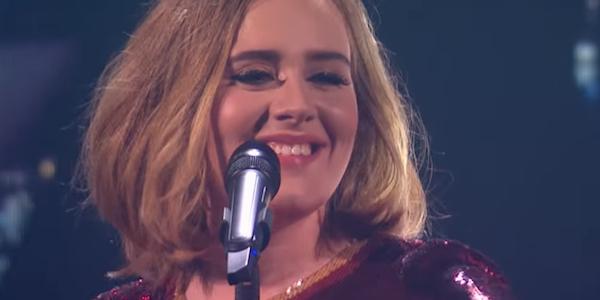 Adele singing at The BRIT Awards 2016