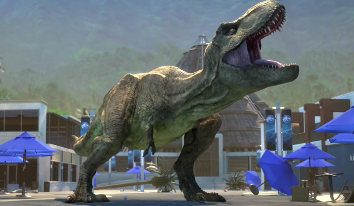 Jurassic World: Camp Cretaceous Roberta the T-Rex roaring on main street