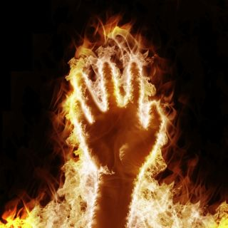 hand on fire