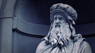 A statue of Leonardo Da Vinci in the Uffizi Gallery in Florence, Italy.
