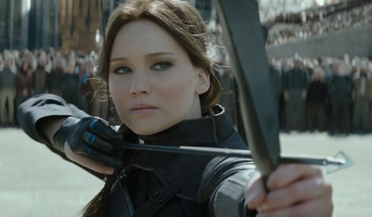 Jennifer Lawrence as Katniss in Mockingjay Part 2