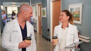 Richard Flood and Ellen Pompeo smile at each other on Grey's Anatomy season 18