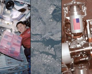 NASA has paid tribute to the victims of the September 11, 2001 attacks, sending American flags to Earth orbit and to the surface of Mars.