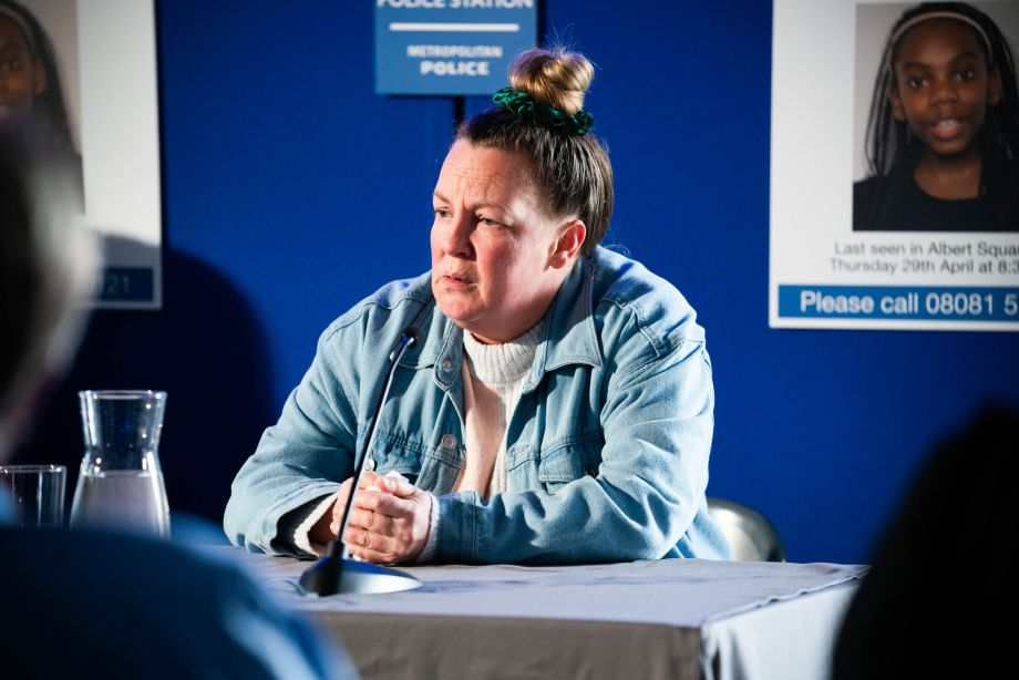 Karen Taylor does a press conference in EastEnders