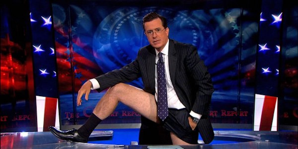 Stephen Colbert pantsless early in his career before The Late Show