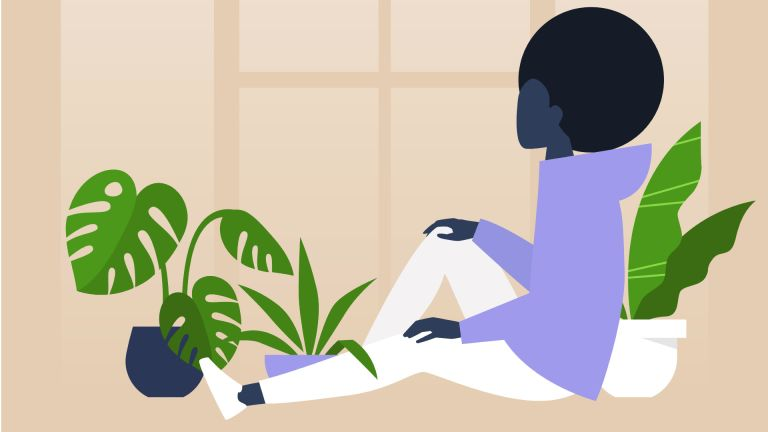 Illustration of woman sitting by window with plants