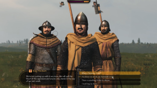 A screenshot of a rebel leader from Mount & Blade 2.
