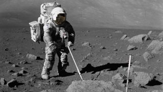 Geologist Harrison Schmitt walked on the moon during the last landing of astronauts during Apollo 17.
