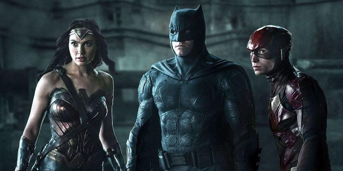 Wonder Woman (Gal Gadot), Batman (Ben Affleck) and Flash (Ezra Miller) stare on in Zack Snyder's Justice League (2021)