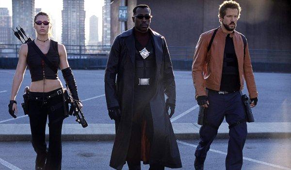 Blade Trinity Abigail Blade and Hannibal walking to battle through a parking garage