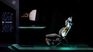 BMW Rivalworks The Rival Rig gaming chair concept from the side with gaming monitor