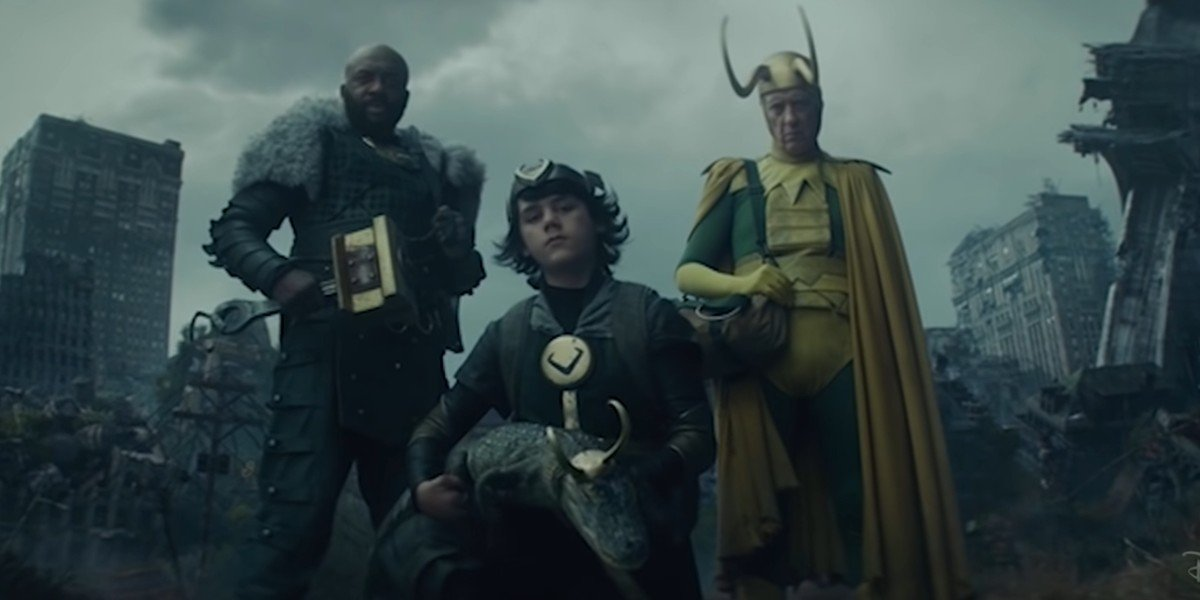 Boastful, Kid, Alligator and Classic Loki stumbling upon OG Loki in Episdoe 5