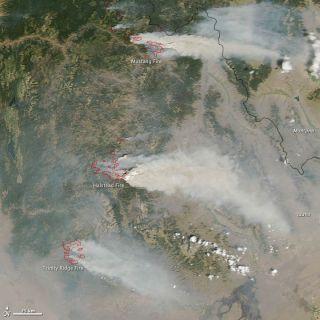 NASA's Aqua satellite captured an image of three major wildfires in Idaho on Aug. 14.