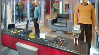 """George Takei sat here. The original, screen-used captain's chair and helm console from """"The Original Series"""""""