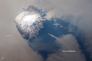 Alaid volcano from space