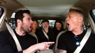 Host Billy Eichner in the car with Metallica