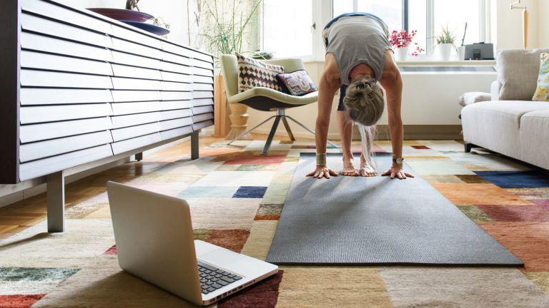 Senior woman doing an online workout