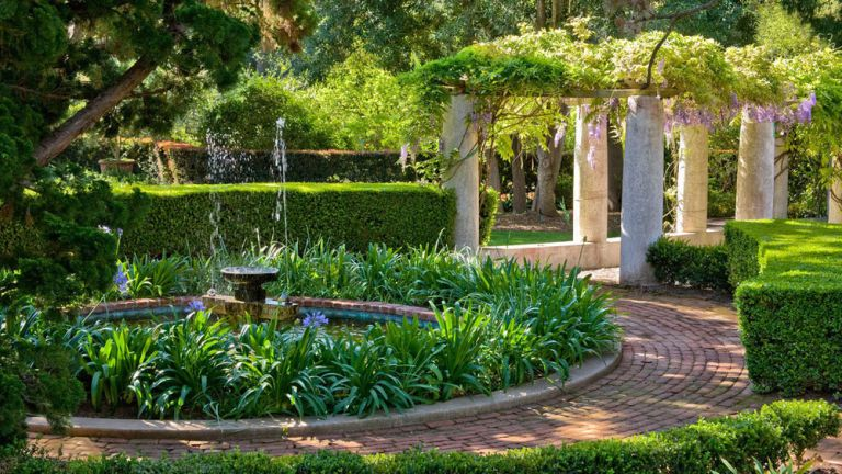Front walkway ideas featuring wisteria and a paved path curving around a pond.