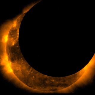 The Hinode spacecraft captured this stunning image of the maximum solar eclipse on May 20, 2012, which darkened the sky in parts of the Western United States and Southeast Asia, according to NASA.