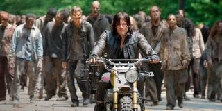 Daryl in front of a herd of walkers