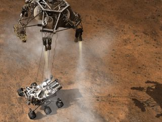 An image showing NASA's Curiosity rover being lowered to the Martian surface by a sky crane.