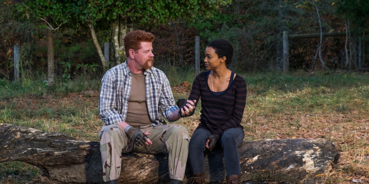 Sasha and Abraham in The Walking Dead.