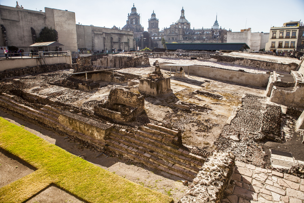 Part of the excavation site at Templo Mayor in Mexico City.