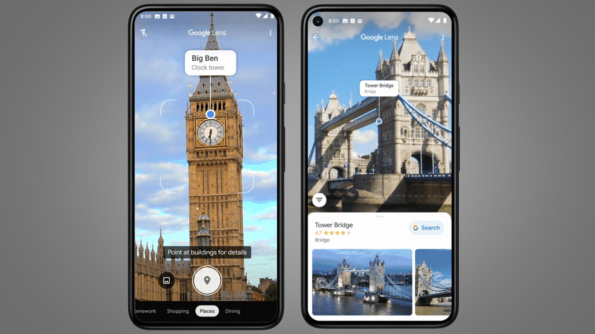 Google Lens Places filter