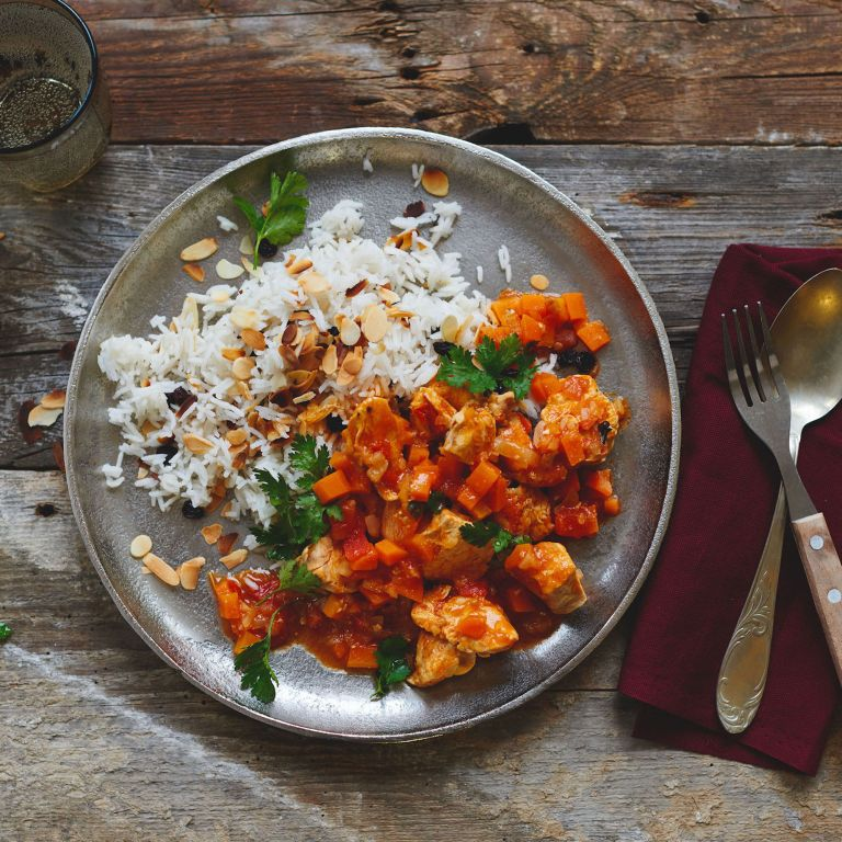 Arabic Sweet Spiced Chicken With Raisin And Almond Rice