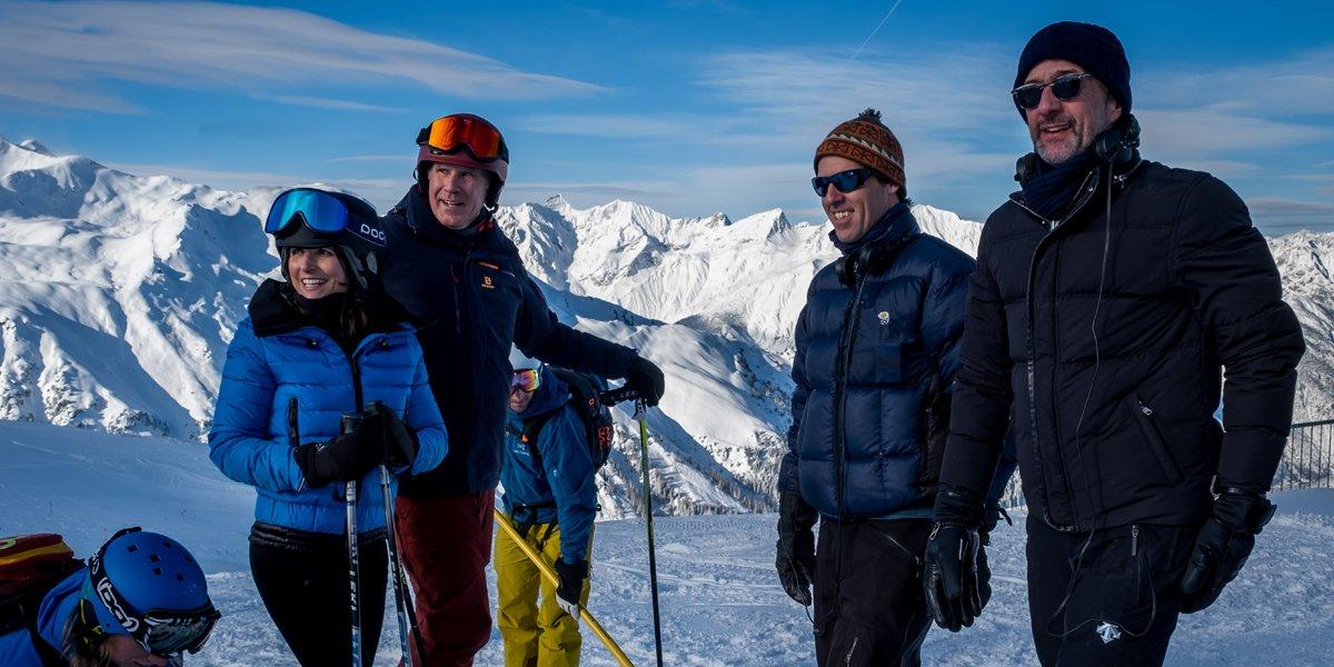 Jim Rash Nat Faxon Julia Louis Dreyfus and Will Ferrell making Downhill