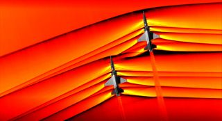 NASA captures first-ever photo of two supersonic shockwaves interacting.