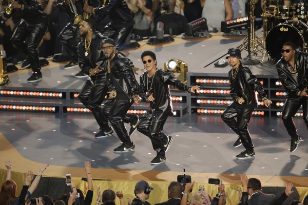 Bruno Mars performs during halftime of the NFL Super Bowl 50 football game between the Denver Broncos and the Carolina Panthers