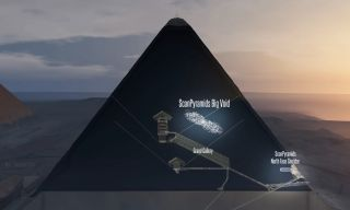 Researchers who analyzed the density of particles called muons found an empty space (shown in this illustration) more than 98 feet (30 meters) long right above the grand gallery of the Great Pyramid — a passageway that leads to what may be the chamber of