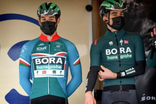 Matthew Walls (Bora-Hansgrohe) in the best young rider's jersey at the start of stage 2 of Tour de la Provence